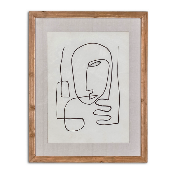 WOOD FRAME L'HOMME ABSTRACT LINE ART