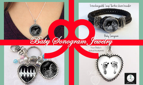 baby sonogram jewelry by Jill Campa Designs