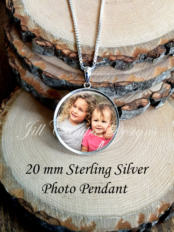 Photo necklace, sterling silver, petite