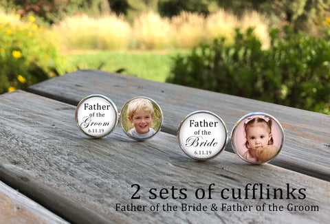 Father of the Bride Cufflinks - Father of the Groom Cufflinks - 2 sets