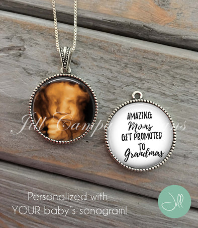 Sonogram necklace- double sided reversible - NEW GRANDMA GIFT - Jill Campa Designs - Now That's Personal!