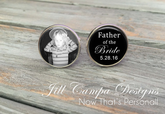 Father of the Bride Cufflinks - Custom Photo Cuff Links - Wedding Cufflinks - Picture Cuff Links - Father of the bride cuff links, black - Jill Campa Designs - Now That's Personal!