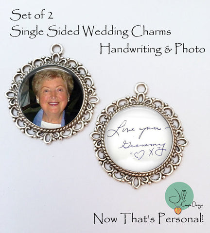 Personalized Photo & Handwriting Wedding Bouquet Charms