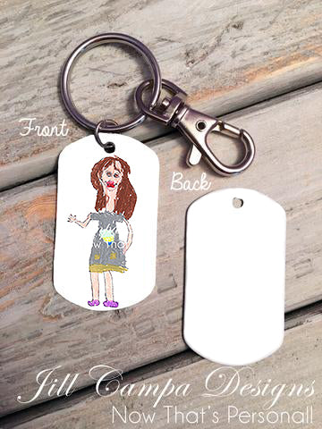 Dog Tag Necklace/Key Chain-Your Child's Artwork or Handwriting