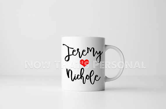 Personalized coffee mug - Any two names and a heart