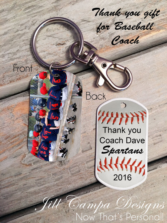 Gift for Baseball Coach - Custom photo key chain - photo dog tag - baseball key chain - Baseball Team gift - to baseball coach from team - Jill Campa Designs - Now That's Personal!