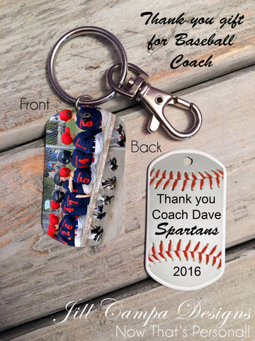 Personalized Baseball Coach Dog Tag Key Chain