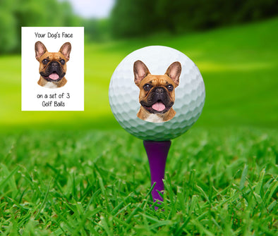 Your dog's face on a golf ball, set of 3 Custom golf balls