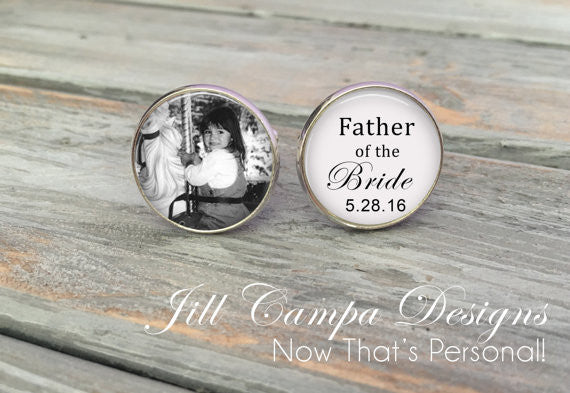 Father of the Bride Cuff links - Custom Photo Cuff Links - Silver Wedding Cufflinks - Picture Cuff Links - Father of the bride cuff links - Jill Campa Designs - Now That's Personal!