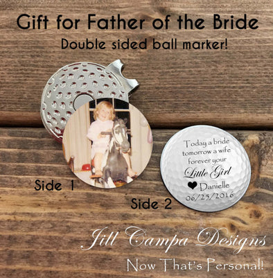 Personalized FATHER of the BRIDE - Double Sided Golf Ball Marker with Clip
