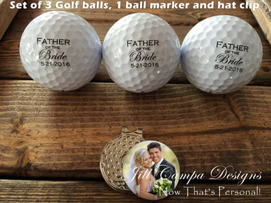 Personalized FATHER of the BRIDE Golf Balls & Ball Marker and Hat Clip Gift Set