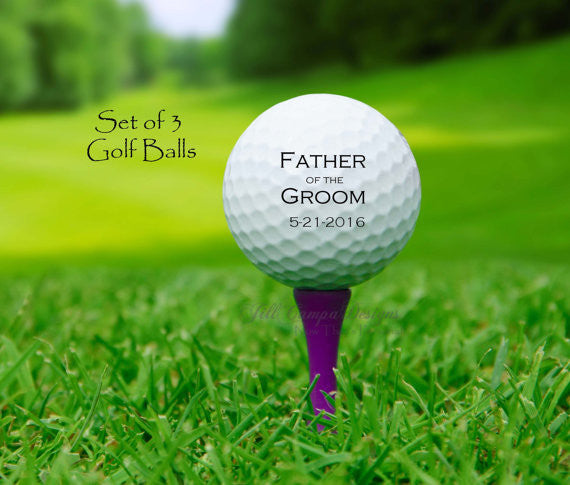 FATHER of the GROOM, custom golf balls- gift for Dad - Wedding - Groom's Father, Father of the Groom gift, personalized golf balls - Jill Campa Designs - Now That's Personal!