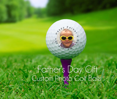 Custom Photo Golf balls - set of 3 with YOUR photo - Father's Day Gift