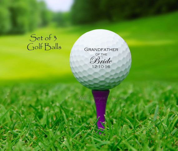 Personalized GRANDFATHER of the BRIDE Golf Ball Set Gift
