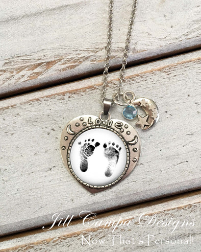 Moon and Stars Baby Footprint Necklace - Your baby's actual footprints