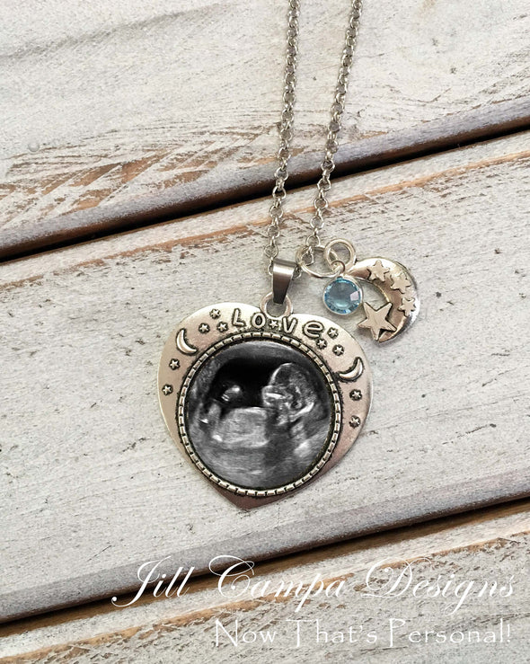 Moon and Stars Sonogram Necklace - Jill Campa Designs - Now That's Personal!