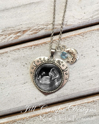 Moon and Stars Sonogram Necklace