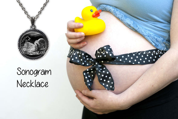 Baby Sonogram Necklace, Ultrasound Pendant - Pregnancy Gift , New Baby - Jill Campa Designs - Now That's Personal!  - 1