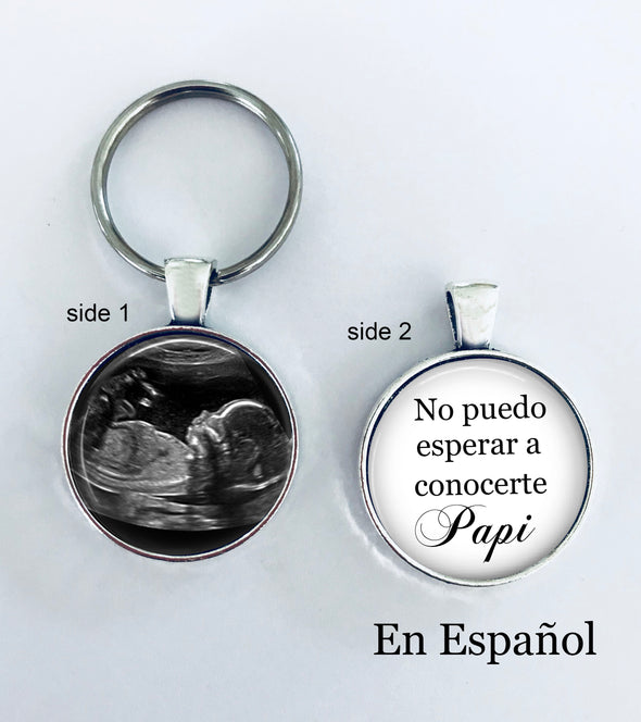 SPANISH Sonogram keychain - double sided - NO PUEDO ESPERAR A CONOCERTE