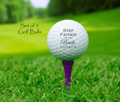 Personalized STEPFATHER of the BRIDE Golf Ball Gift Set
