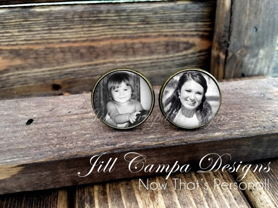 Personalized Photo Cuff Links - Then and Now - Wedding Cufflinks, Cuff Links, custom cuff links, Father of the bride cuff links, photo cufflinks - Jill Campa Designs - Now That's Personal!