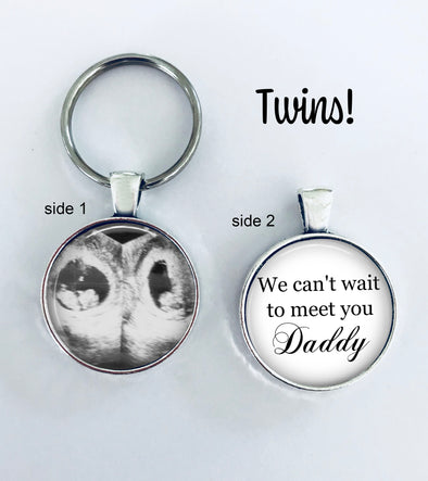 TWINS Sonogram keychain - double sided - We can't wait to meet you