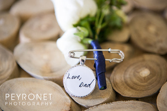 Boutonniere Charm - Memorial charm - Two sided Photo and Handwriting Boutonniere Charm - Photo boutonniere charm - handwriting charm - Jill Campa Designs - Now That's Personal!