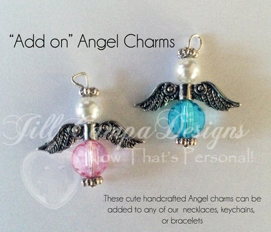 ADD an ANGEL charm to your item - pink or blue Angel Charm - charm add on - Jill Campa Designs - Now That's Personal!