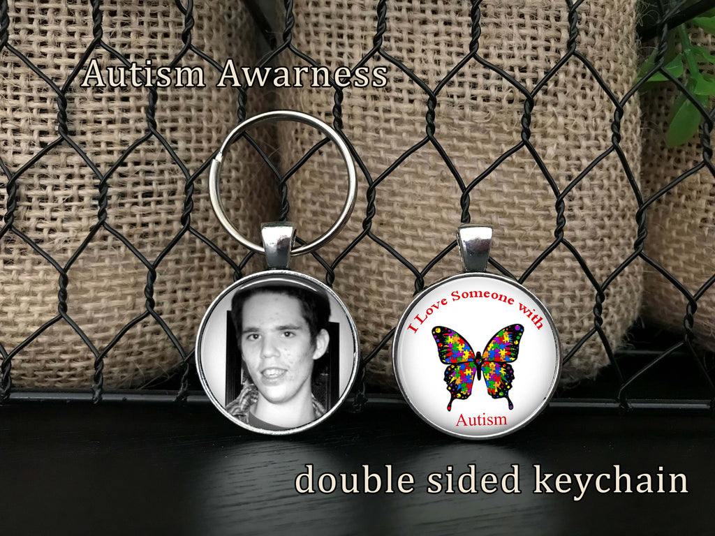 "Autism keychain - Double sided Keychain - YOUR PHOTO on the front and ""I Love Someone with AUTISM"" on the back - Autism Awareness Keychain"