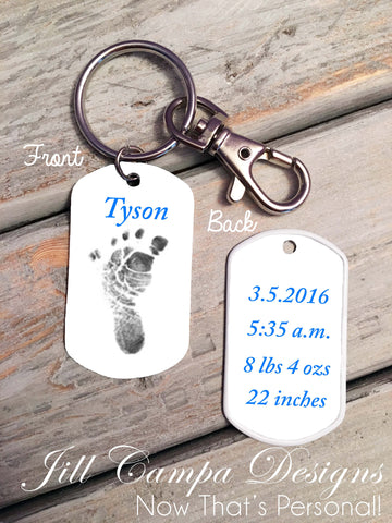 Baby Footprint key chain - Baby Boy - Custom Dog Tag necklace
