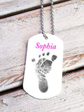 Baby Footprint key chain - Baby Girl - Custom Dog Tag necklace - Jill Campa Designs - Now That's Personal!  - 2