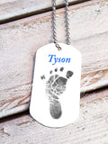 Baby Footprint key chain - Baby Boy - Custom Dog Tag necklace - Jill Campa Designs - Now That's Personal!  - 2