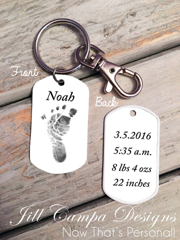 Baby Footprint key chain - Custom Dog Tag necklace