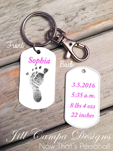 Baby Footprint key chain - Baby Girl - Custom Dog Tag necklace - Jill Campa Designs - Now That's Personal!  - 1
