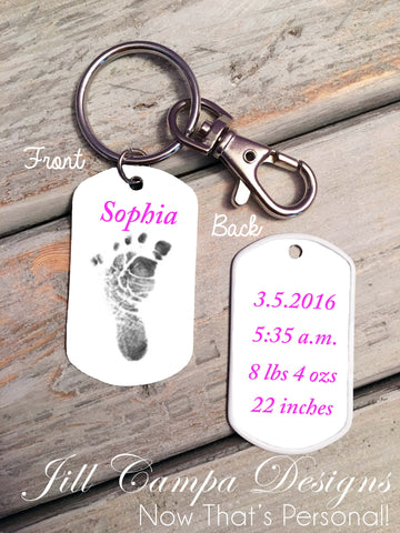 Baby Footprint key chain - Baby Girl - Custom Dog Tag necklace