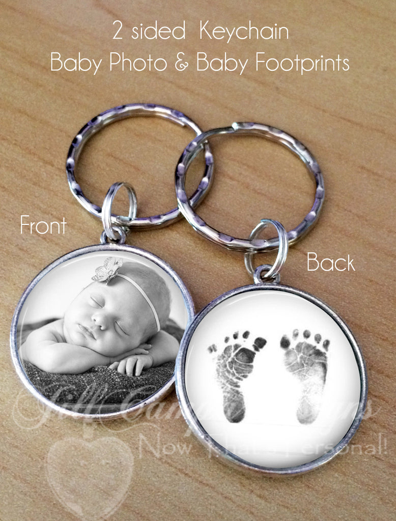 Double sided keychain - Your baby's footprint, your baby's photo or sonogram - Jill Campa Designs - Now That's Personal!