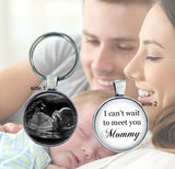 Sonogram keychain - double sided - I can't wait to meet you