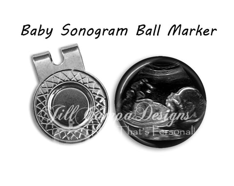 SONOGRAM or Baby footprint Magnetic Golf Ball Marker & hat clip set