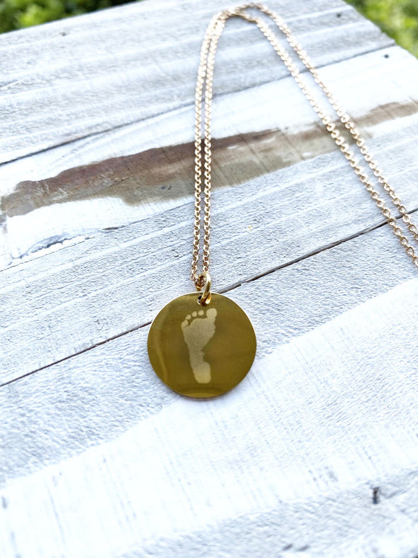 Custom Engraved Footprint Necklace