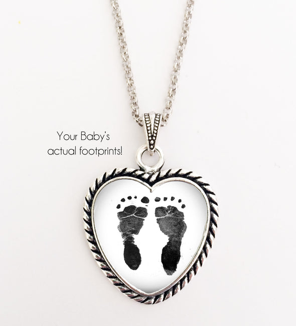 BABY Footprint Necklace, heart shape, Your baby's actual footprints on a necklace