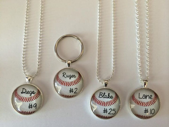 CUSTOM BASEBALL PENDANT - custom baseball necklace - Your child's name and number on a  baseball - baseball mom - baseball necklace - 25 mm - Jill Campa Designs - Now That's Personal!  - 1