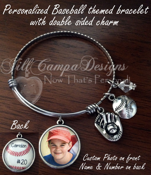 Baseball expandable Charm Bracelet with double sided charm - Jill Campa Designs - Now That's Personal!