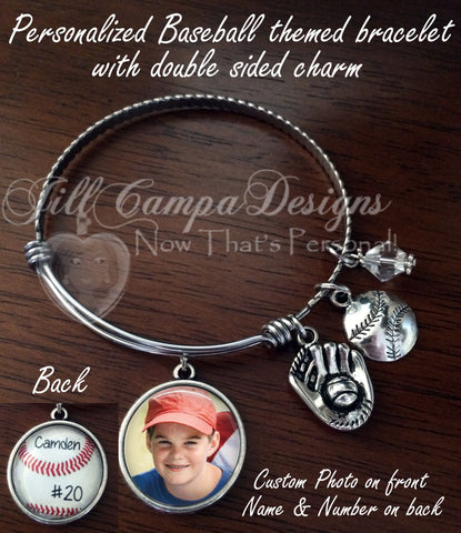Baseball expandable Charm Bracelet with double sided charm