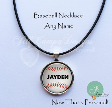Personalized Baseball Necklace - ANY NAME - Jill Campa Designs - Now That's Personal!  - 1