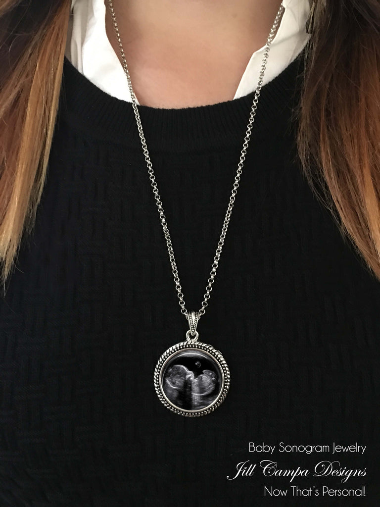 Sonogram Necklace, Ultrasound Pendant - Pregnancy Gift , New Baby - Jill Campa Designs - Now That's Personal!  - 1