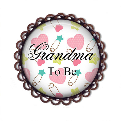 GRANDMA to be Brooch - diaper pins and heart background