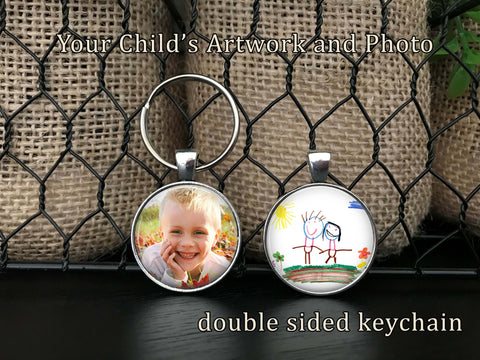 Personalized Double Sided  CHILD'S ARTWORK Handwriting and PHOTO Keychain