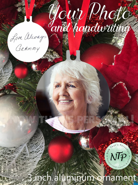 Aluminum Christmas ornament - Photo and Handwriting Christmas Ornament