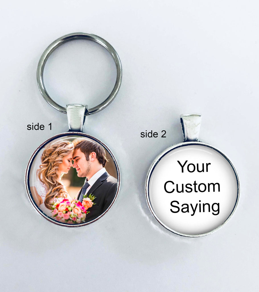Custom Photo Custom Text key chain - Wedding photo
