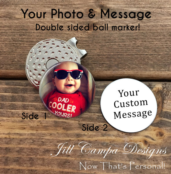 Personalized photo Golf Ball Marker & Hat Clip Set - double sided